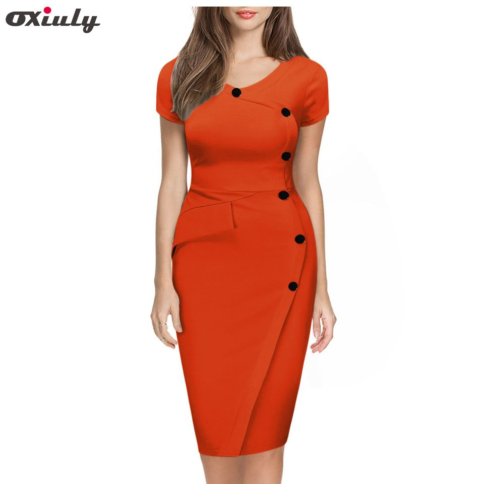 Oxiuly Women Plus Size 3XL Summer Short Sleeve Button Cotton Blend Empire Casual Bodycon Knee-Length Pencil Dress No Belt