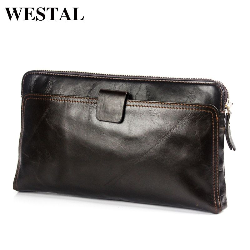 WESTAL Wallet Male Genuine Leather Men's Wallets for Credit Card Holder Clutch Male bags Coin Purse Men Genuine leather 9041