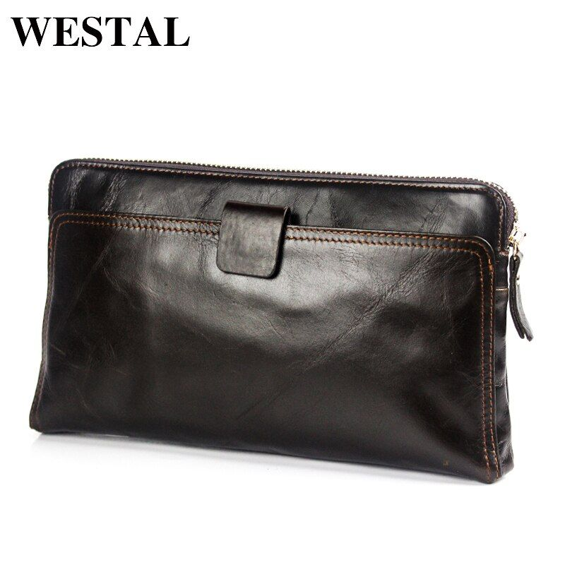 WESTAL Wallet Men Genuine Leather Coin Purse Men Wallet for Credit Cards Wallet Card Holder <font><b>Clutch</b></font> Male Zipper Vintage Wallets