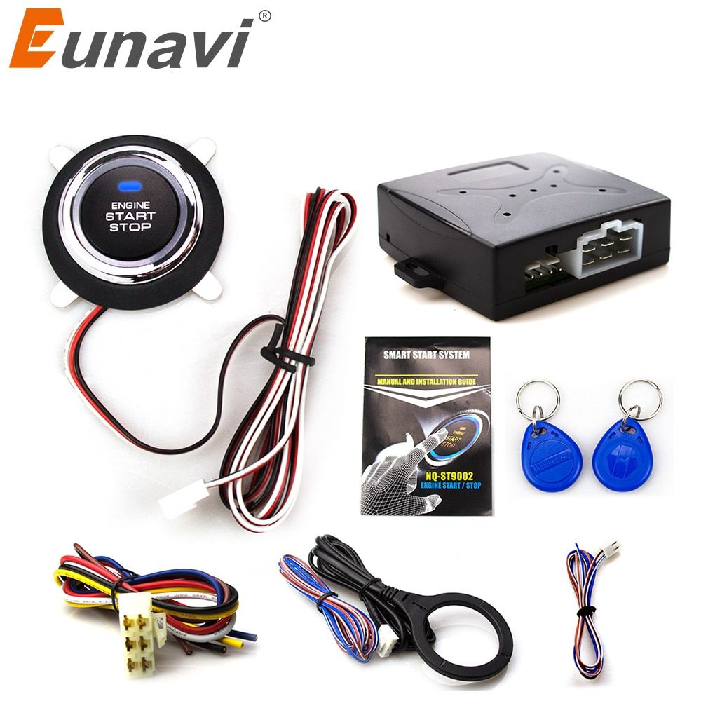 Eunavi Smart Rfid Car Alarm System Push Engine <font><b>Start</b></font> Stop Button Transponder Immobilizer Keyless Go Fits For 12v Cars Carsmate