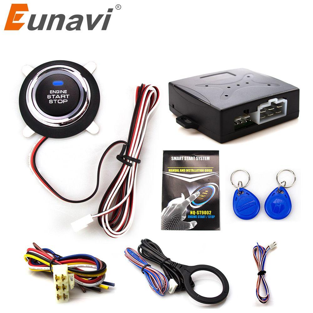 Eunavi Smart Rfid Car Alarm System Push <font><b>Engine</b></font> Start Stop Button Transponder Immobilizer Keyless Go Fits For 12v Cars Carsmate