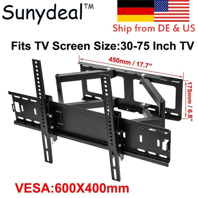 Articulating Full Motion TV Wall Mount Bracket TV Size 30'' 32'' 40'' 42'' 48'' 55'' 60'' 65'' Tilt Swivel Bracket TV Stand