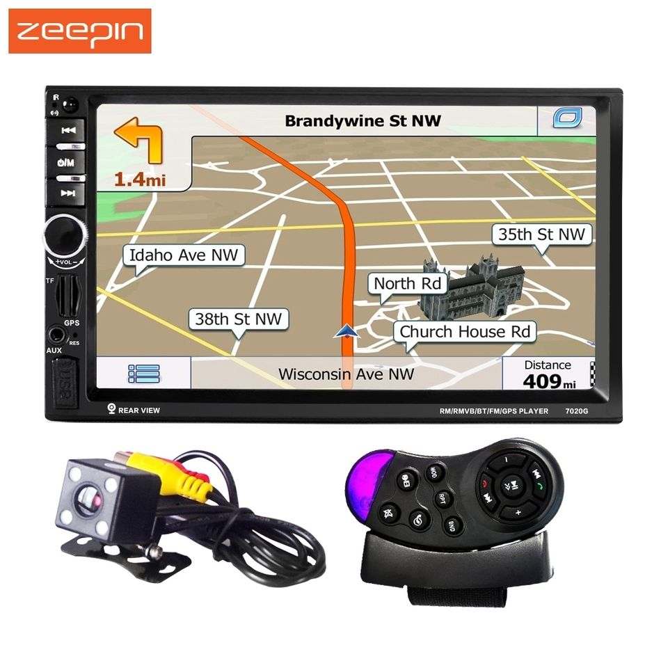 2 DIN 7''1080P Univeral 7020G Car DVD Video Player 12V Touch Screen GPS Navigation With Remote Control Rearview Camera available