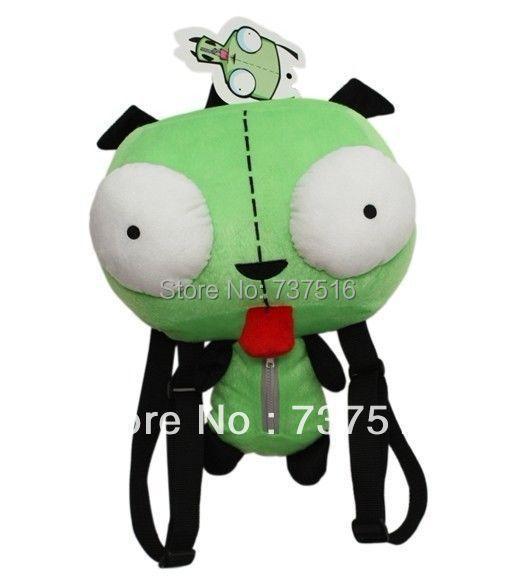 Nouveau Alien Invader Zim 3D yeux Robot Gir mignon en peluche sac à dos sac vert cadeau de noël 14 pouces