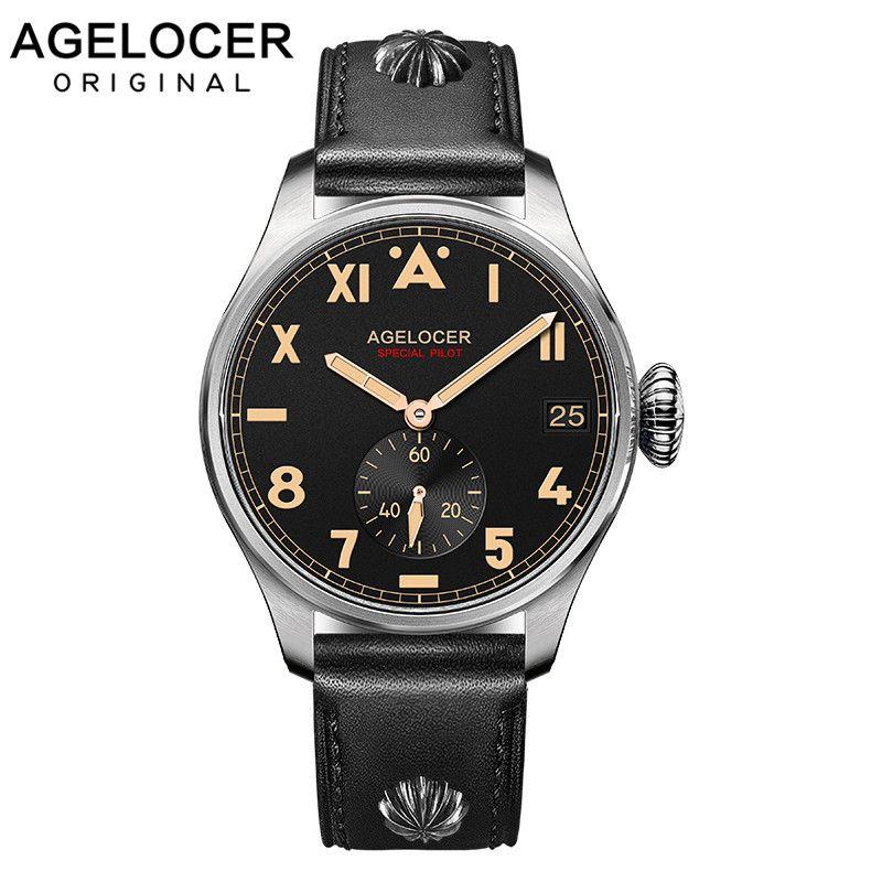 Original AGELOCER Marke Männer Authentische Pilot Männliche Uhr Teure Dive100M Auto Datum Outdoor Männer Stoßfest Wasserdichte Uhr