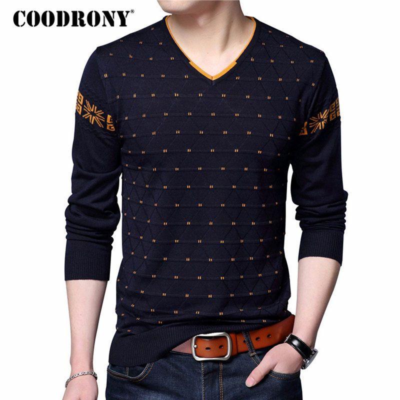Coodrony Для мужчин S Свитеры для женщин шерстяной пуловер Для мужчин брендовая одежда Повседневное v-образным вырезом свитер Для мужчин в горош...