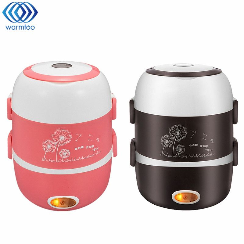 3 Layer Electric Heating Lunch Box 2L Rice Cooker Stainless Steel Liner Portable Steamer Food Container Thermal Box 200W 220V