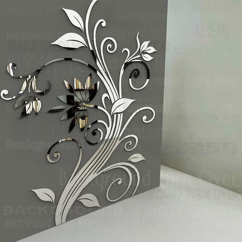 Bricolage miroir stickers muraux printemps nature fleur élégante pour la maison coin décoration décorative art affiche R219