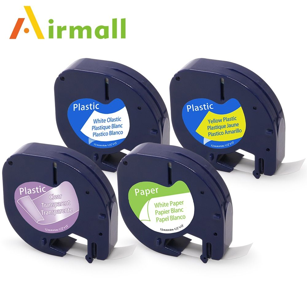 Airmall 4 pcs Compatible DYMO LetraTag Tape Label maker DYMO 91201 12267 91200 91202 Mixed Color DYMO Label Printer Ribbon 12mm