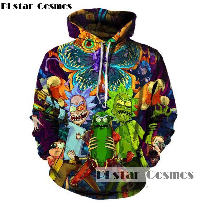 PLstar Cosmos 2017 Mode Hip hop 3d Hoodies de bande dessinée Chaude rick et morty imprimé Femmes/Hommes Sweat À Capuche Streetwear à capuchon shirts