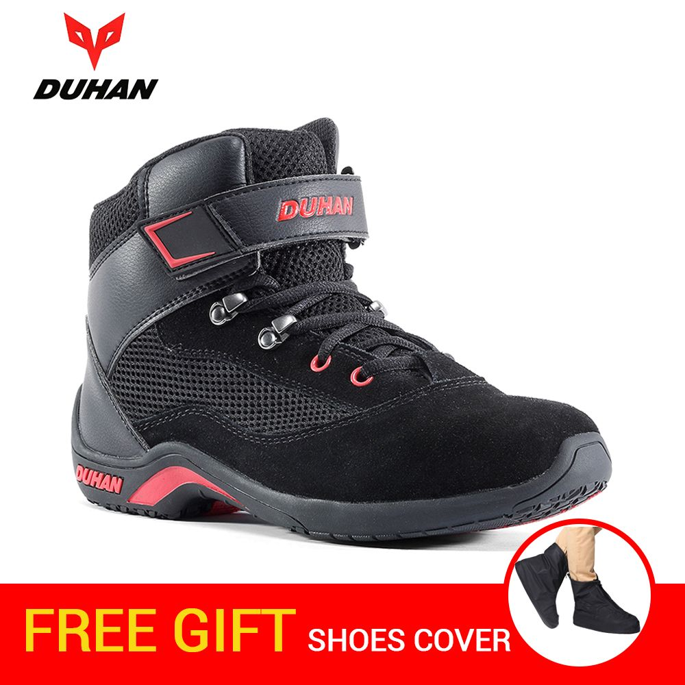 DUHAN Motorcycle Boots Men Summer Mesh Moto Boots Riding Motocross Boots Motorcycle Shoes Breathable Botas Moto Protective Gear