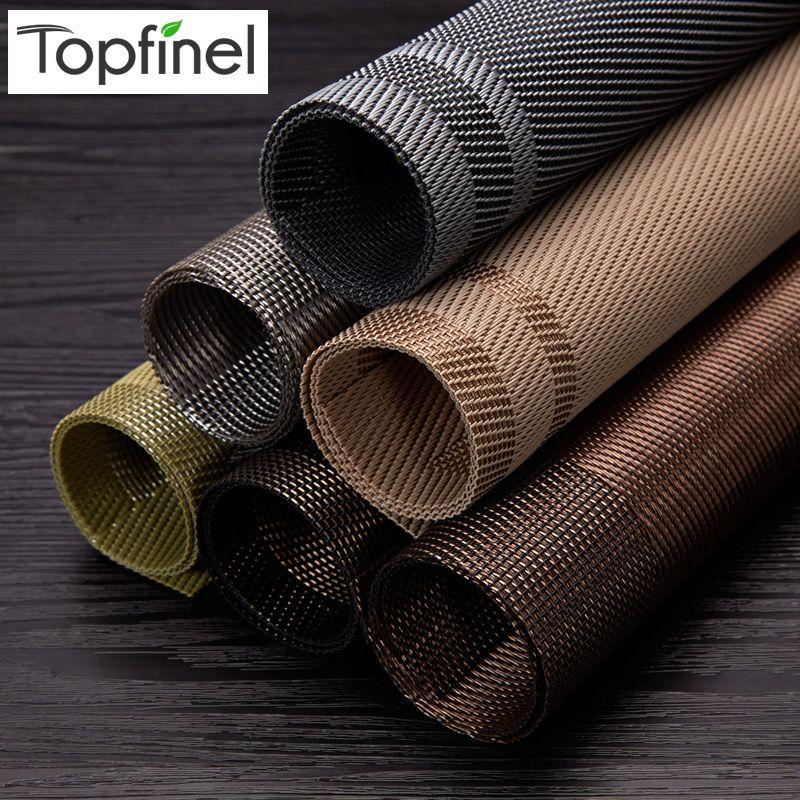 Topfinel lot de 4 napperons en PVC pour tapis de Table Pad boisson sous-verres en bambou napperons Table à manger tapis de cuisine linge de Table