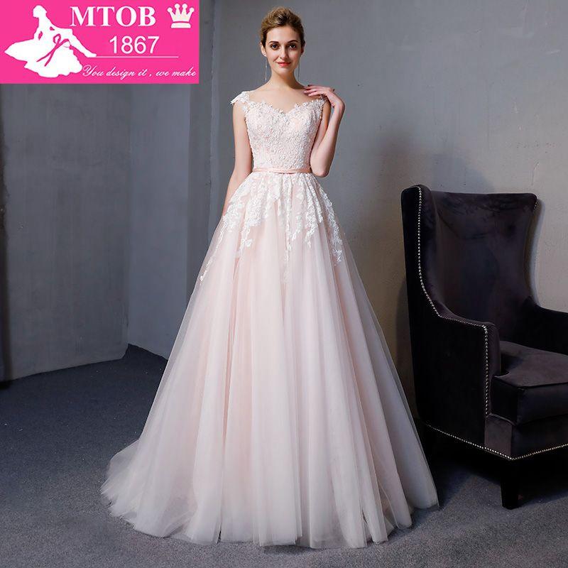 Gorgeous A-line Spitze Brautkleider Elegante Perlen Perlen Sexy Backless kleider Luxus Braut Kleid vestido de noiva MTOB1812