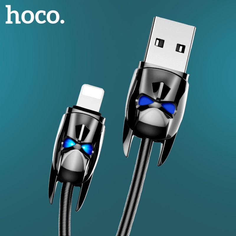 Câble USB à ressort en métal d'origine HOCO apparence unique pour iphone X 8 7 6 5 câble de charge rapide pour câble chargeur USB prise Apple