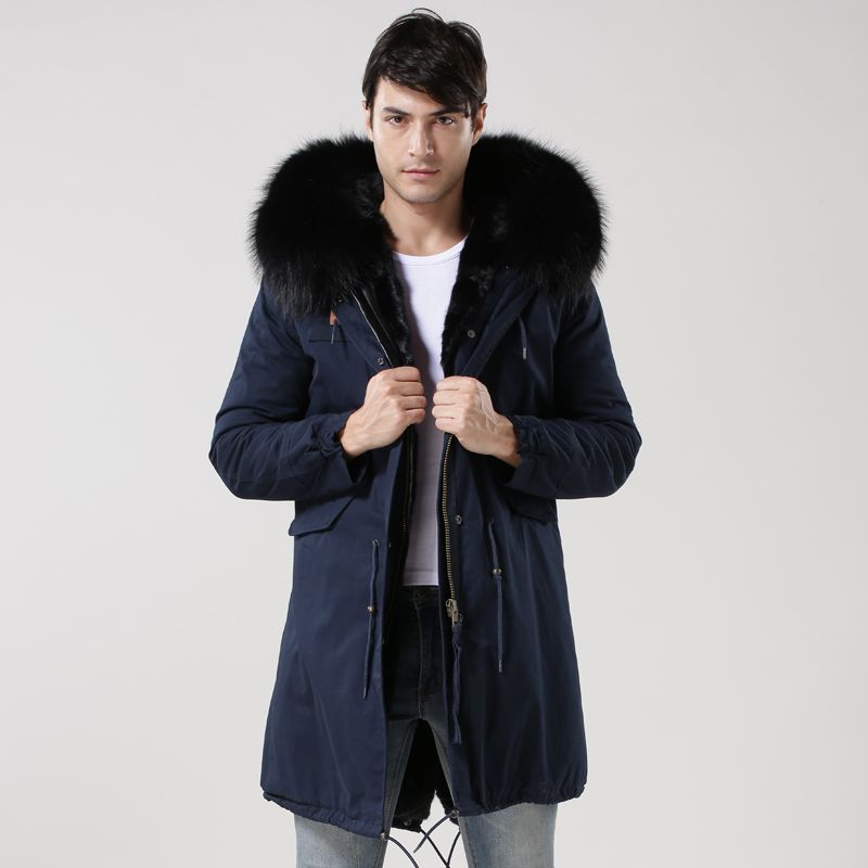 2017 Promotion Sale Navy Winterproof parka Young Men Thickened Long Padded Jacket Warm Silm MR Parka