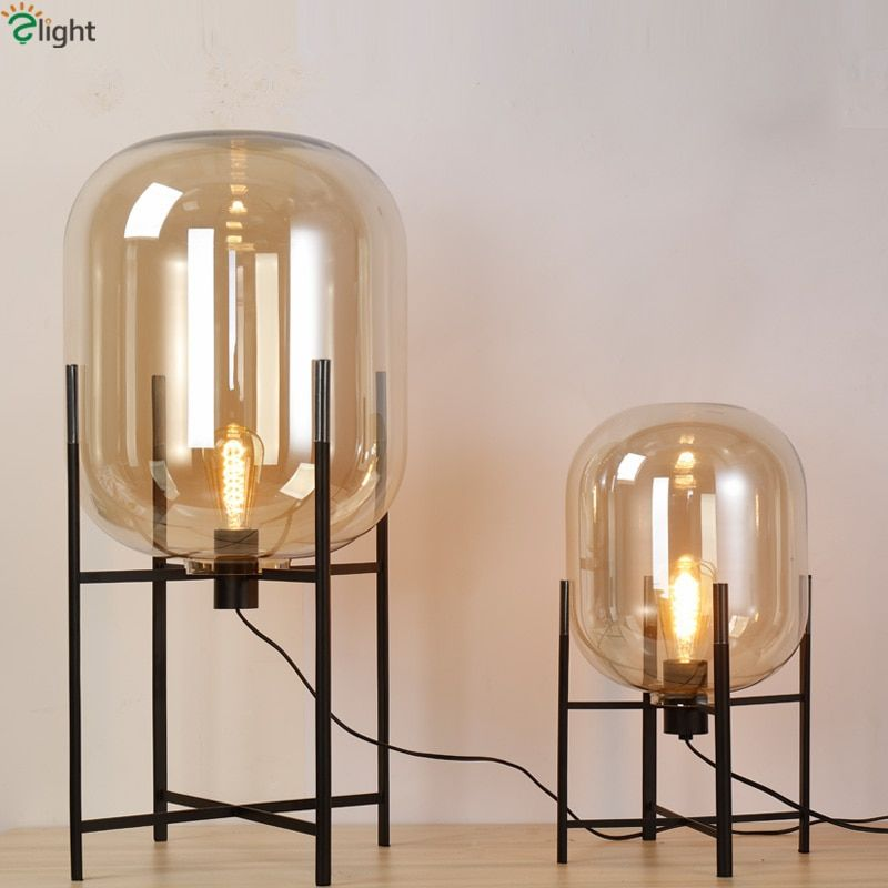 Europe Oda Pulpo Table Lamp Glass Shades Metal Lamp Body Desk Light Amber Gray Color Shades Table Deco Lamp For Bedroom
