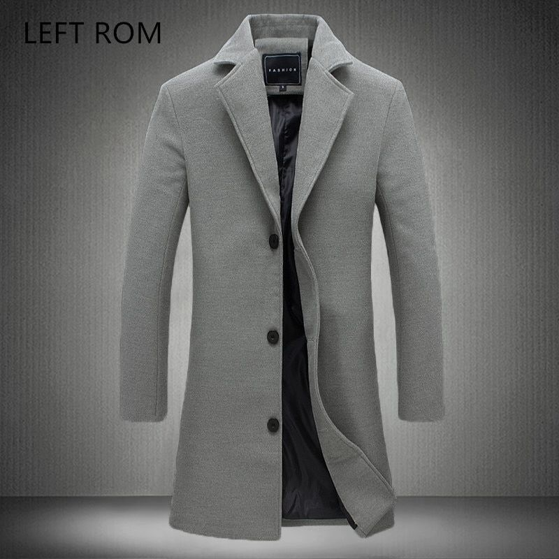 LEFT ROM Men's long color windbreaker 2017 high-end fashion woolen coat man Business Casual Overcoat Pure cotton Slim Jacket
