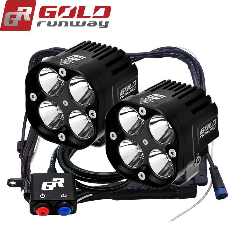 2X U3 LED Universal 3 mode Motorcycle Fog Light Auxiliary Lamp Aluminium Housing 4200lm Motorbike Headlight Truck Spot Light wit