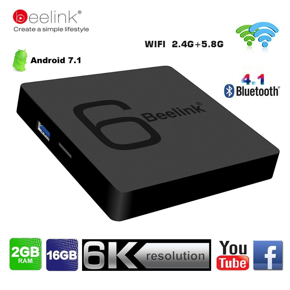 Beelink GS1 6K TV Box Android 7.1 Allwinner H6 Quad Core 2G RAM 16G ROM Smart Set Top Box 5G Wifi BT4.1 1000M HD Media Player