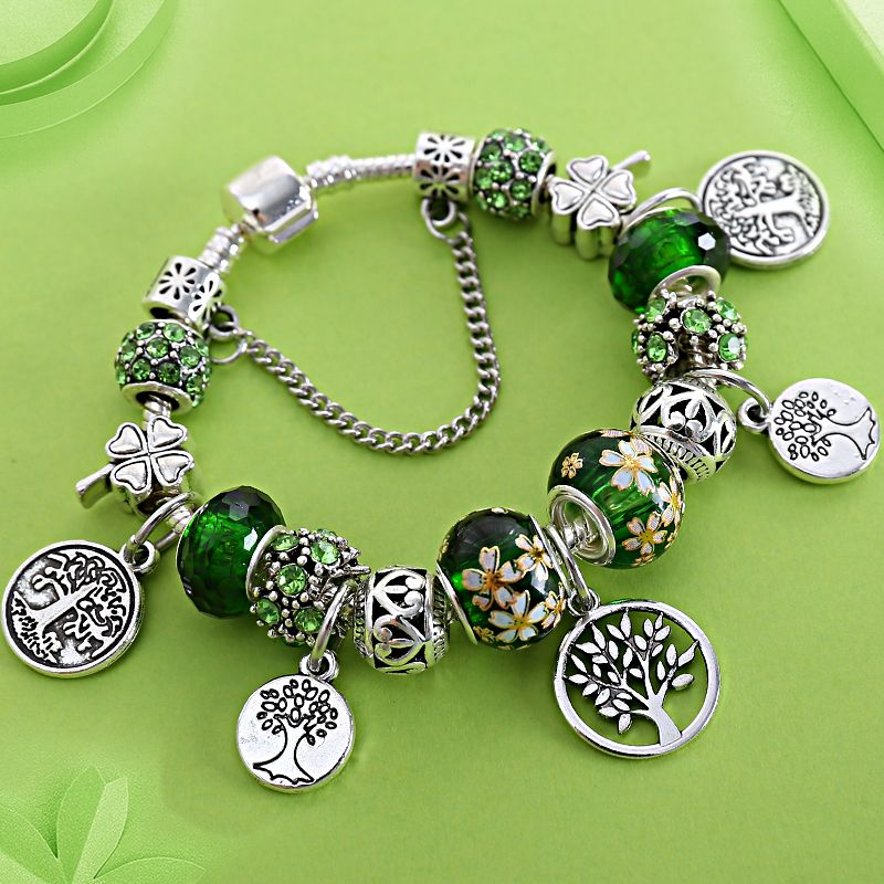 Stering 925 Argent Arbre de Vie De Mode Perle Pan Bracelet vert Cristal Floral Feuille Charmes Snap Bouton Bracelet & Bracelet Pulsera
