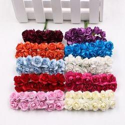 12 unids/lote flor Artificial Mini lindo rosa de papel hecho a mano para la decoración de la boda DIY Wreath regalo de Scrapbooking artesanía falsa flor