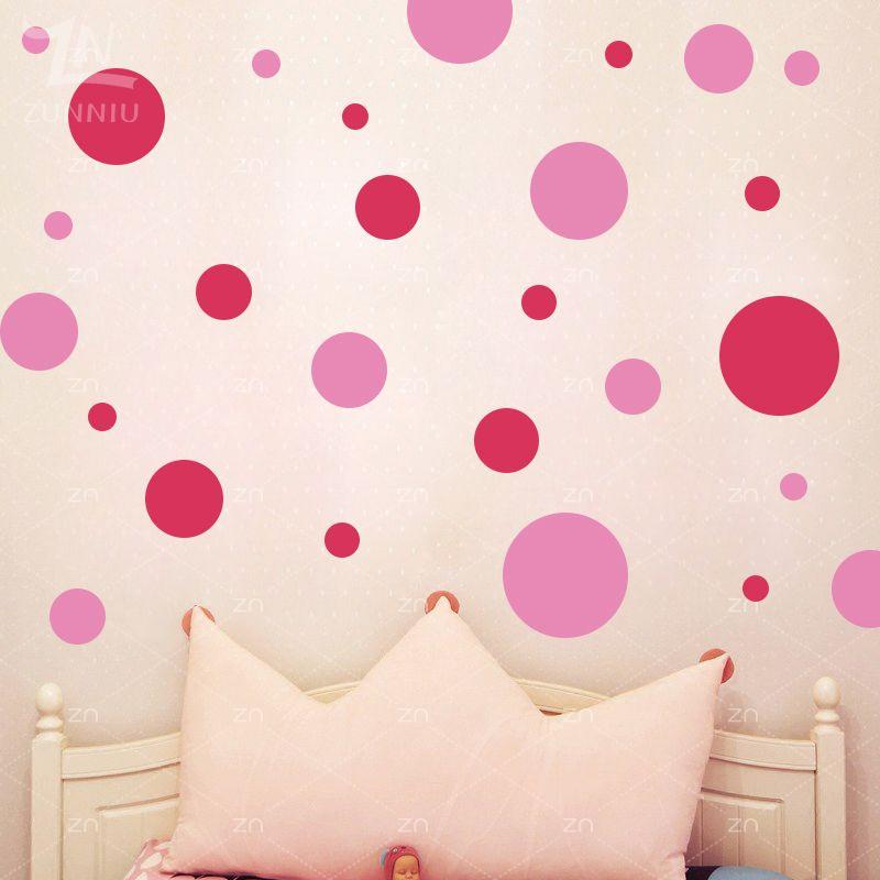 ZN cercle à pois stickers muraux assortis bricolage vinyle décor à la maison pour enfants chambres Art rond stickers muraux pépinière décoration cadeaux