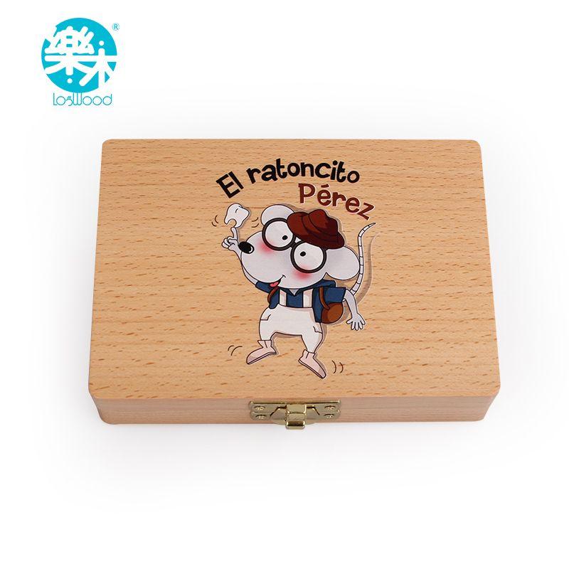 Baby wood box teeth box for save teeth <font><b>organizer</b></font> baby milk teeth children teeth box Spanish tooth fairy Wooden tooth box