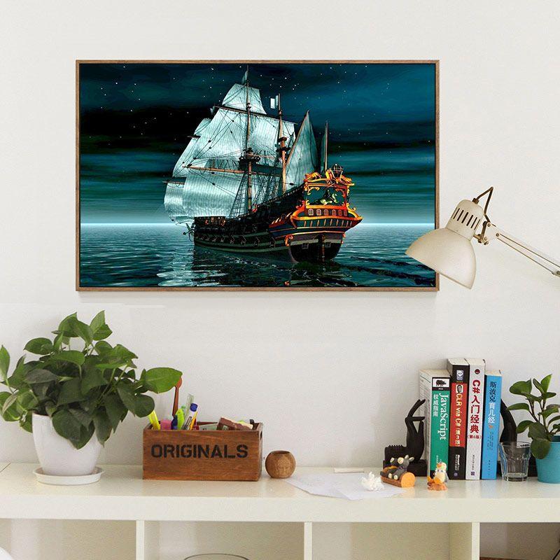 Meian,40x50cm Full 14CT Sailing <font><b>Boat</b></font> Cross Stitch DIY White Canvas DMC Counted Kits Cross-stitch set Embroidery Needlework,VS13