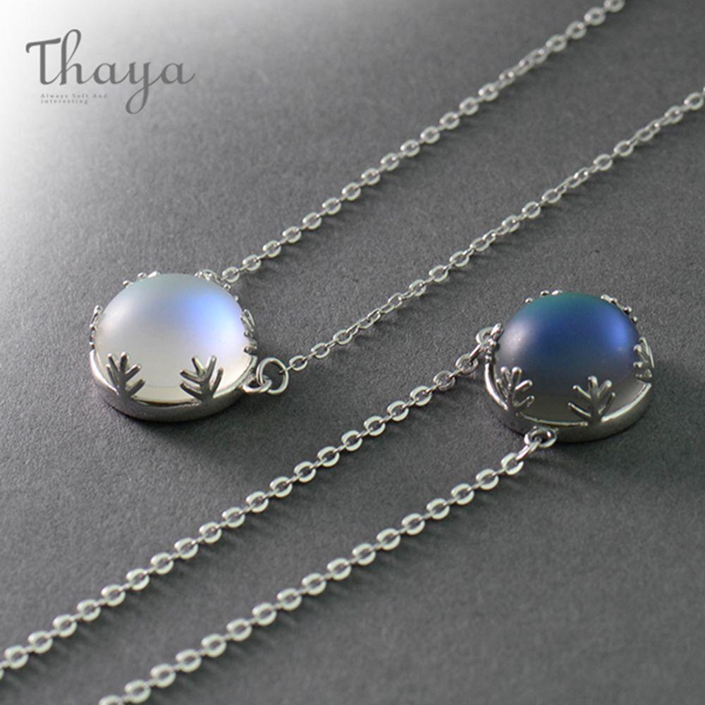 Thaya 55 cm Aurora Pendentif Collier Halo Cristal Précieuses s925 Argent Échelle Lumière Collier pour Femmes Élégant Bijoux Cadeau