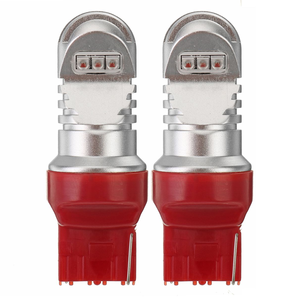 1 Pair F1 LED T20 7740 Car Brake Light Bulbs 30W 750lm Fog Lights Bake-up Light 12V-24V 360 Degree Red Lighting