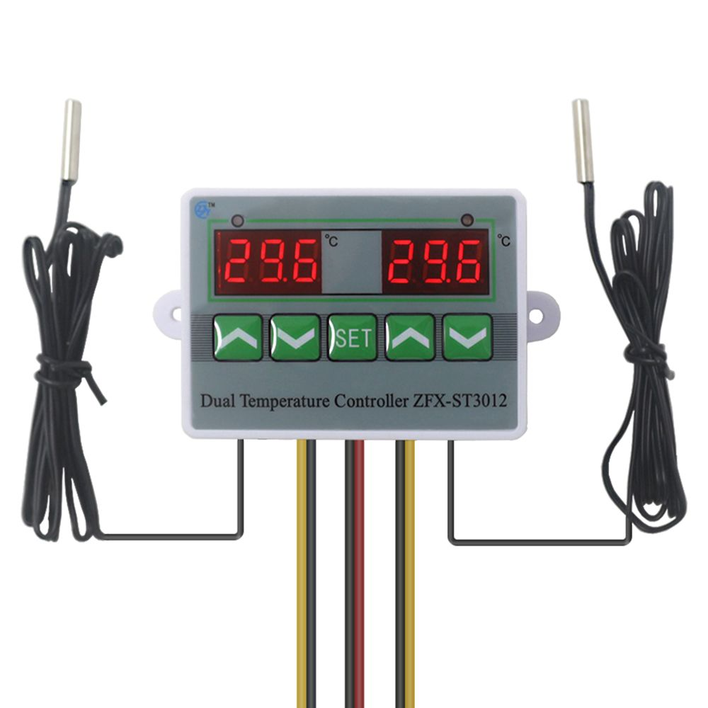 Incubator controller Intelligent Digital Dual Thermostat Temperature Controller Regulator Temp. Switch with Dual Sensor