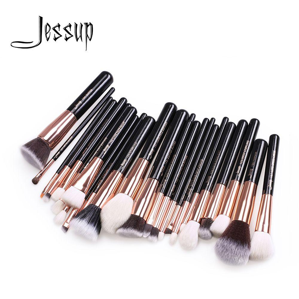 Jessup Brushes 25Pcs Rose Gold/Black Professional Makeup Brushes Set Make up Brush Tools kit Foundation Powder Blushes T155