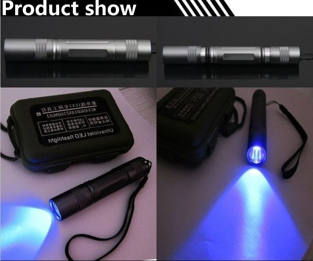 LED Flashlight UV,3W,365nm,375nm,395nm,18650 battery,Cree chip,Chemical detection,UV curing,Mechanical leak detection