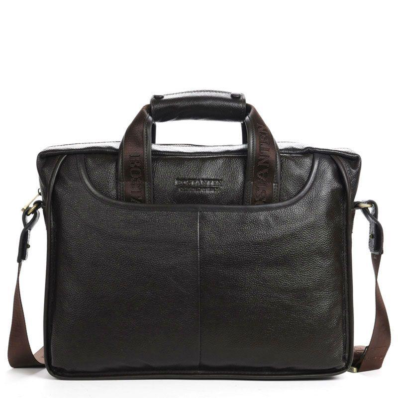 100% GENUINE LEATHER Cowhide Shoulder <font><b>Leisure</b></font> Men's Bags Business Messenger Portable Briefcase Laptop Large Purse 14 Handbag