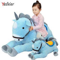 50/70 Cm Raksasa Berwarna Merah Muda/Biru Mewah Mainan Boneka Hewan Kuda Tinggi Kualitas Anak-anak Hadiah Ulang Tahun