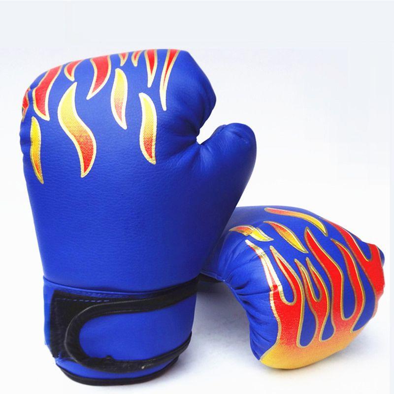 Niños Adultos Deportes de Fitness Guantes De Boxeo Llama Impresión Engrosamiento Almohadillas de Combate Libre Kickboxing Lucha MMA Muay Thai Training