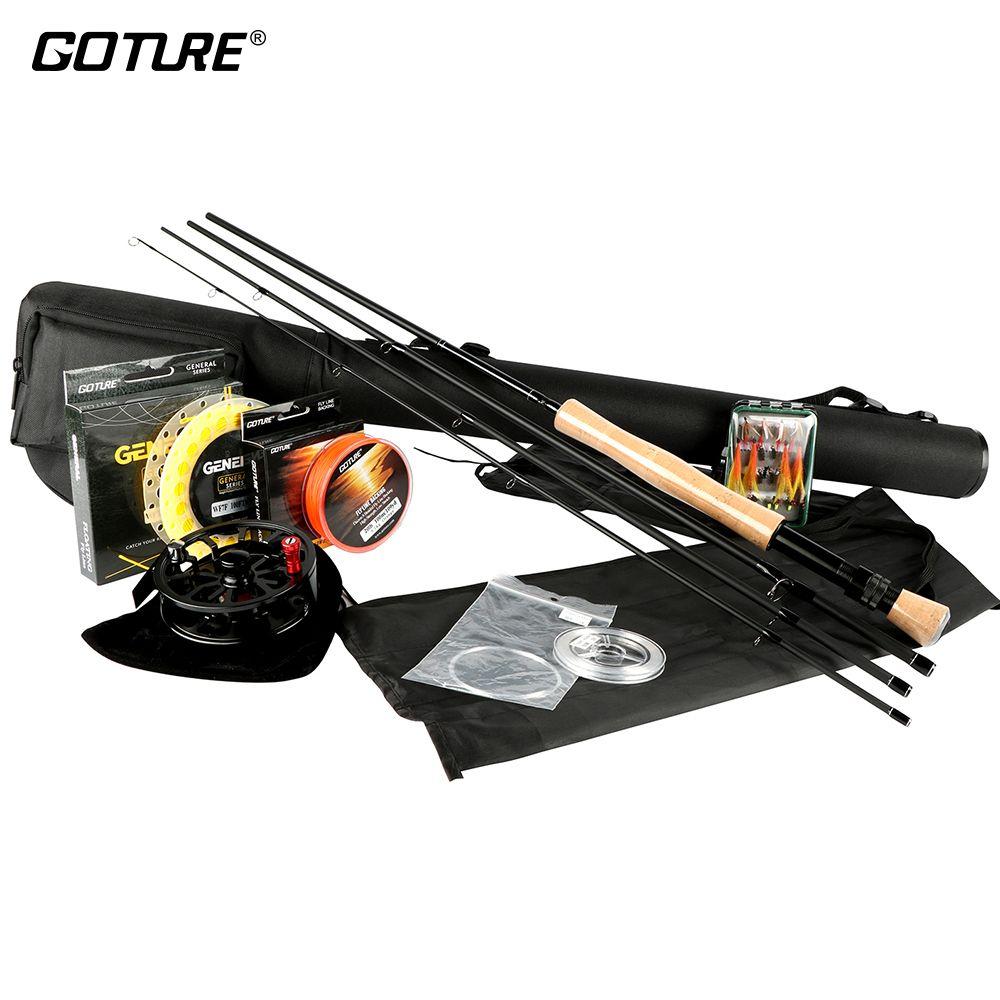 Goture Fliegenfischen Rute Und rolle Combo Set 5/6 7/8 100FT Gewicht Nach Vorne Hauptlinie Backing/Bezugslinie + Tippet