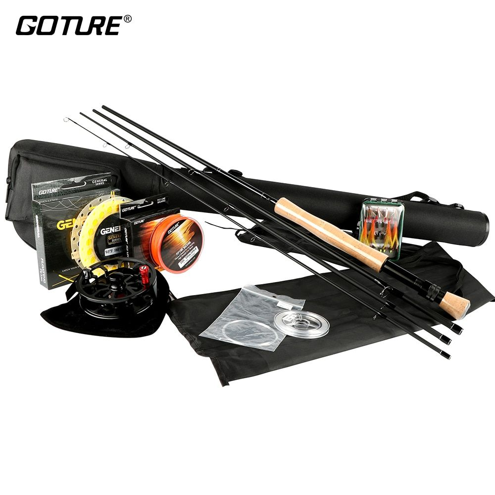 Goture Fly Fishing Rod And Reel Combo Set 5/6 7/8 100FT Weight Forward Main Line Backing/Leader Line  +Tippet