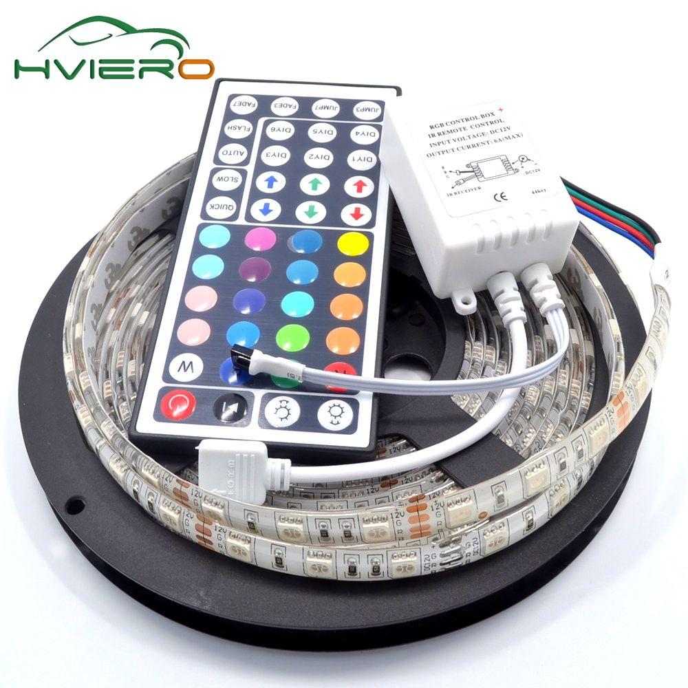 5 M RGB LED bande 5050 étanche 300 LED s IP65 lampe Flexible lumière de vacances DC 12 V 44Key IR télécommande bureau veilleuse