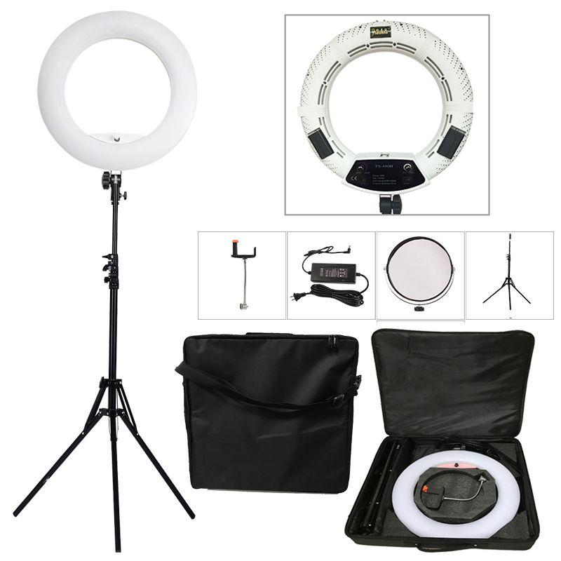 Yidoblo White FS-480II 5500K Bio-color Camera Photo/Studio/Phone/Video 18'' 480 LED Ring Light LED Lamp+ 2M tripod +Soft bag Kit