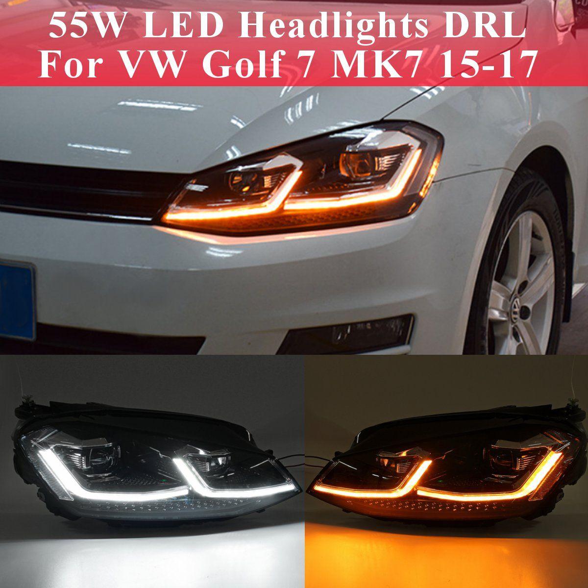 Paar Vorne Links/Rechts Klar LED Scheinwerfer Kopf Lampe DRL Objektiv Doppel Strahl HID Für VW Golf 7 MK7 2015 2016 2017 auto Kopf Lampe cas
