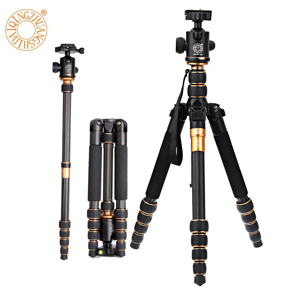 QZSD Q666C 62.2 Inches <font><b>Carbon</b></font> Fiber Camera Video Tripod Monopod With Quick Release Plate