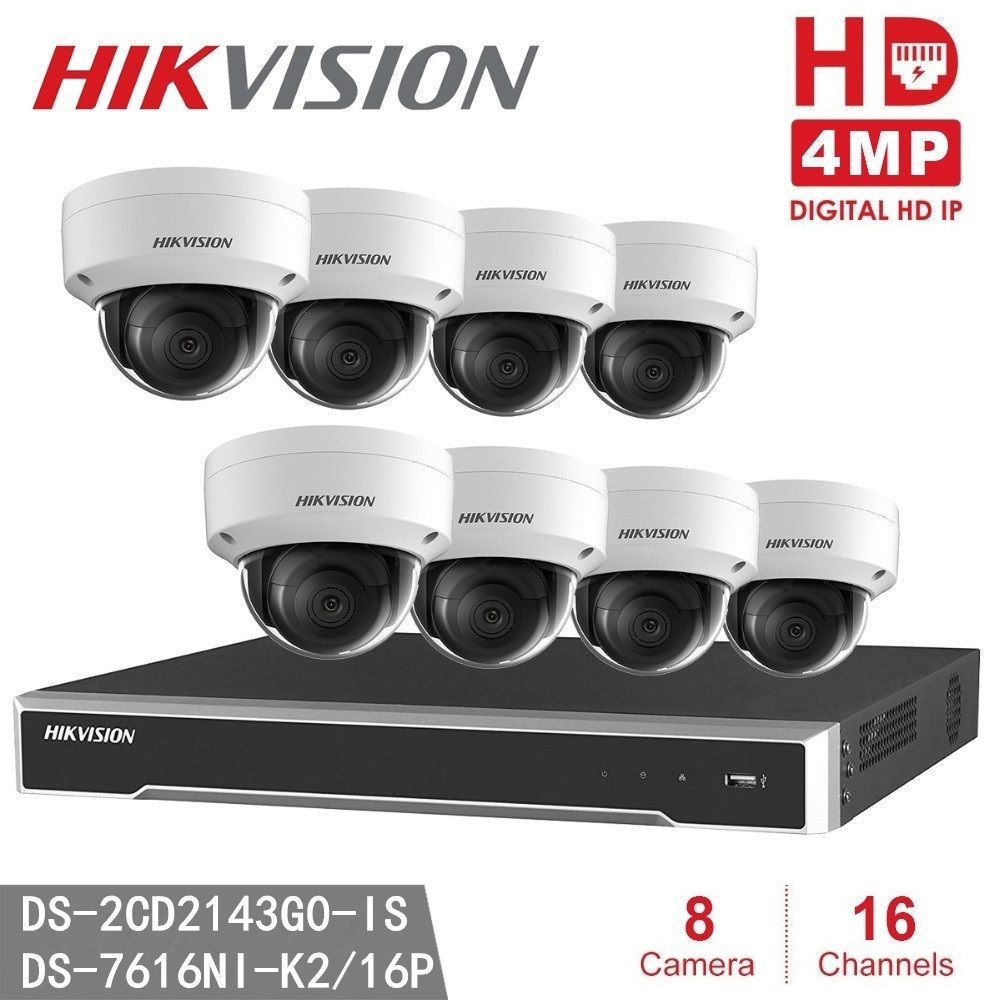 8pcs Hikvision DS-2CD2143G0-IS ONVIF 4MP IP H.265 POE P2P + Hikvision NVR DS-7616NI-K2/16P 8MP Resolution Recording NVR CCTV