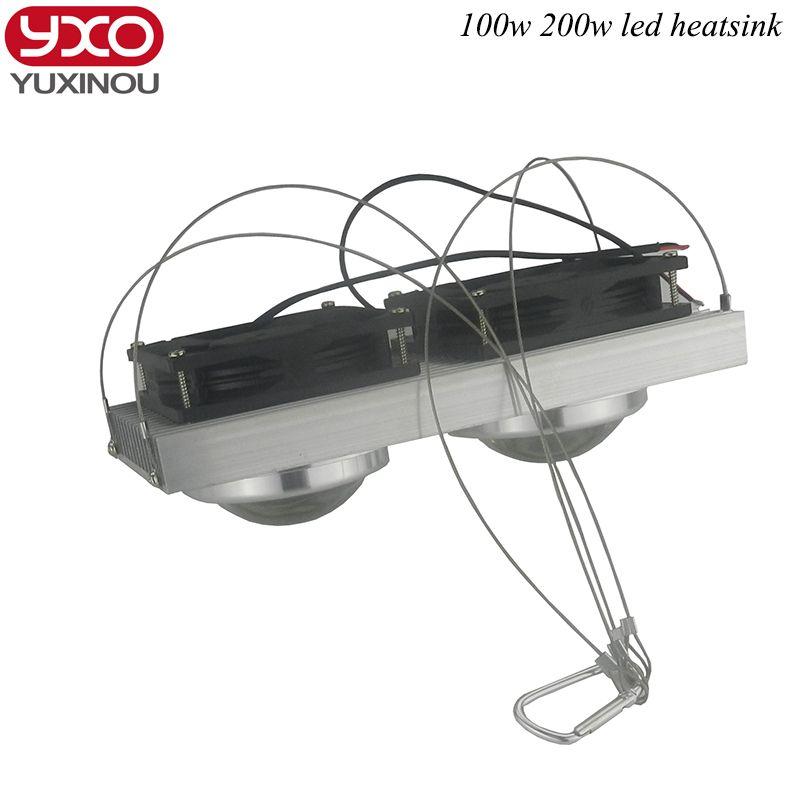 100 W 200 W de Alta Potencia LED Lente led radiador Disipador de calor de refrigeración con ventiladores para led crece la luz de espectro completo, luz del acuario del led