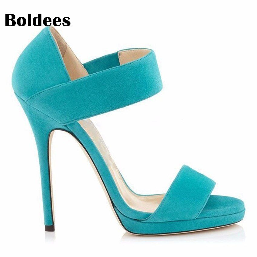 Single Belt Designer Open Toe Women Thin High Heel Shoes Ethnic Turquoise Party Dress Shoes Zapatos Muje R1 Big Size 43
