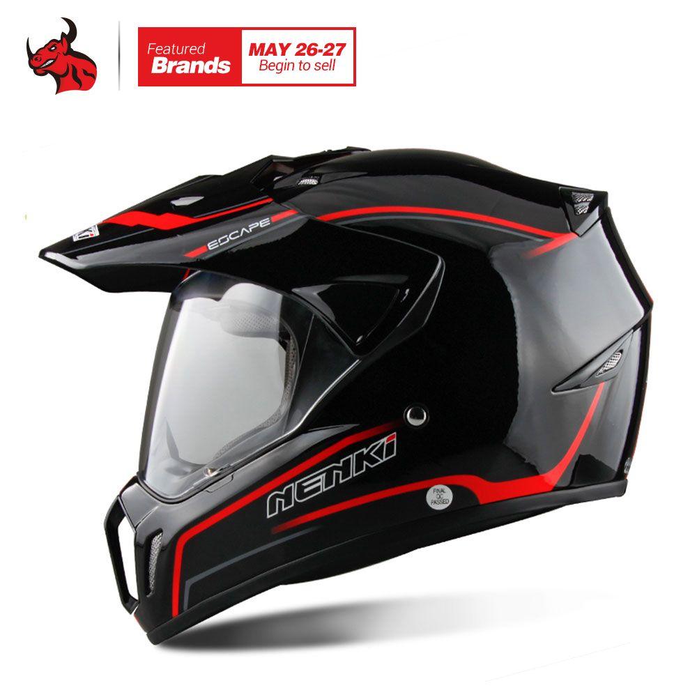 NENKI Black Full Face Motorcycle Helmet Motorcycle Riding Helmet Motocross Men's Off Road Downhill DH Racing Moto Helmet DOT