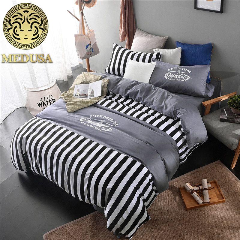 Medusa boho fine coton chevron literie housse de couette drap taies d'oreiller 4 pcs linge de lit ensemble, roi, reine taille, brossé doux