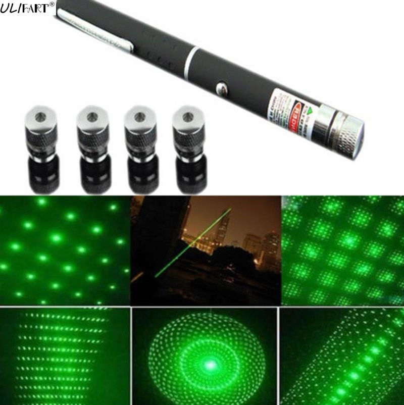 Ulifart 1 шт. 5 в 1 зеленый лазер ручка 5 МВт 532nm звезда эффект Caps 5 лазерные головки Пособия по астрономии puntero lazer Видимый луч света игрушка кошка
