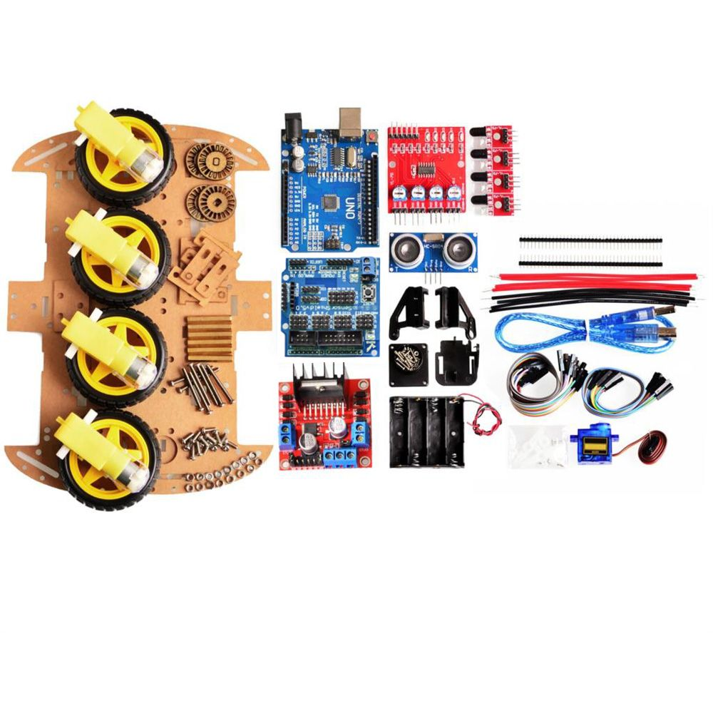 Avoid Tracking Motor Smart Robot Car Chassis Kit 4WD Ultrasonic to Fits Arduino