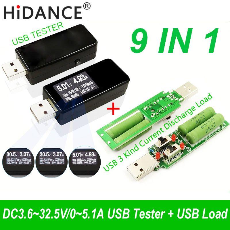 9 dans 1 QC2.0 3.0 MTK-PE 3.6 ~ 32 v Numérique USB testeur DC voltmètre tension courant indicateur amp voltamètre amperímetro détecteur charge
